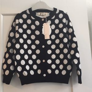 Little girl black and white sweater